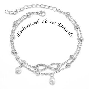 Infinity Silver Alloy Double Chain Ankle Bracelet